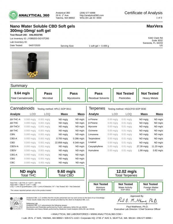 MaxVera COA - SoftGels - NANO WS BS 300mg Lot J1089203-SG10T293 - 360-1