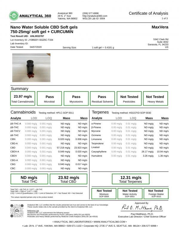 MaxVera COA - SoftGels - NANO WS BS 750mg Curcumin Lot J1089201-SG25C-T334 - 360-1
