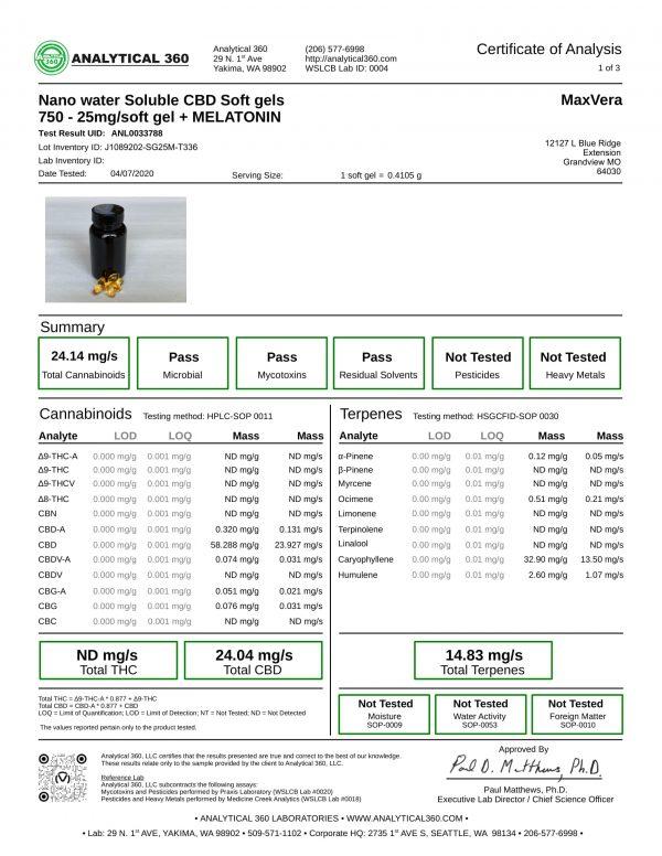MaxVera COA - SoftGels - NANO WS BS 750mg Melatonin Lot J1089202-SG25M-T336 - 360-1